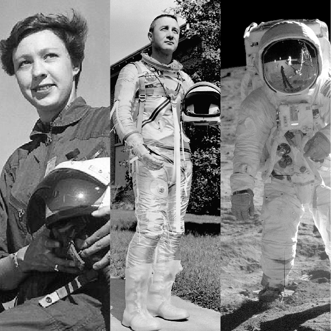 WHAT DO THE FIRST MOON LANDING, THE LIBERTY BELL 7 SPACECRAFT, AND PIONEERING SPACE-WOMAN WALLY FUNK ALL HAVE IN COMMON?